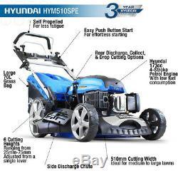 Hyundai ELECTRIC START Self Propelled Petrol Lawnmower 173cc 51cm Lawn Mower
