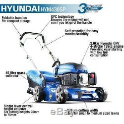 Hyundai HYM430SP Self Propelled 139cc Petrol Lawn Mower Lightweight Lawnmower