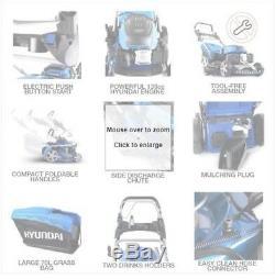 Hyundai HYM460SPE Push Button Start Petrol Lawn Mower 139cc self propelled 46cm