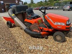 Kubota T1400 Ride On Lawn Mower Tractor 40 Deck Collector And Tipping Trailer
