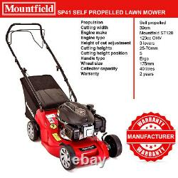 Mountfield SP41 123cc Self Propelled Petrol Lawnmower 39cm Blade 40L Grass Box