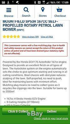 New 2019 large mountfield Honda self-propelled petrol lawnmower