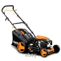Petrol 146cc 18 self-propelled lawnmower mow, collect, mulching, side discharge