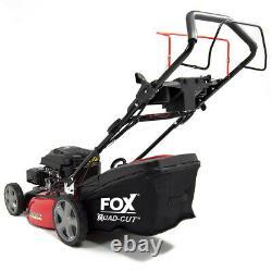 Petrol Lawn Mower Self Propelled Electric Start 4 Blades Fox 20 51cm 173cc