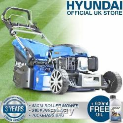 Roller Petrol Lawn Mower 53cm 21 530mm Cut 173cc Self Propelled Lawnmower